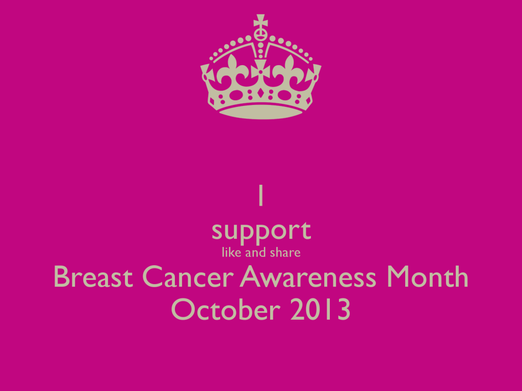October is Breast Cancer Awareness Month 2013. Please share this image ...