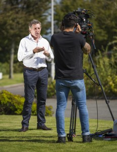 Welsh rugby legend Jonathon Davies is filmed as part of the campaign to raise awareness about lung cancer in Wales.