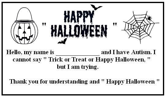 Trick or Treat Card for People with Autism