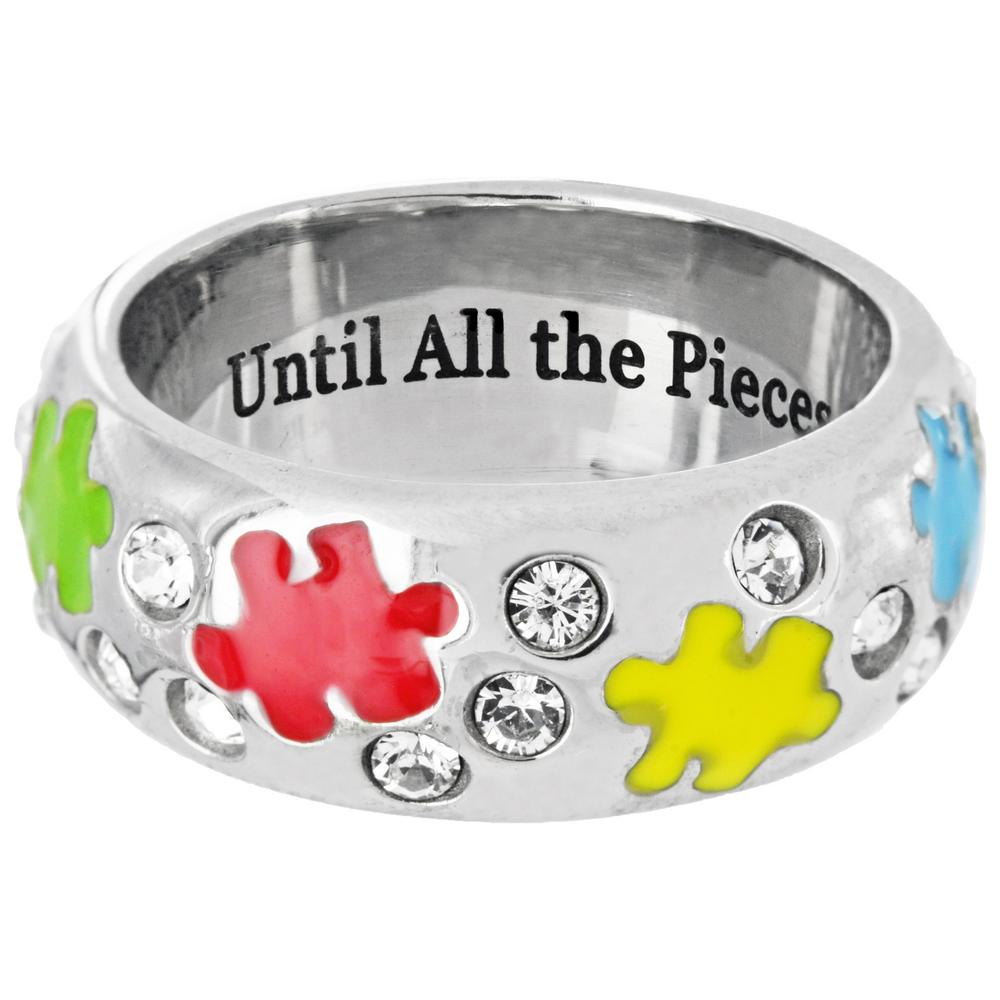 Swarovski Crystal Ring - Autism Awareness