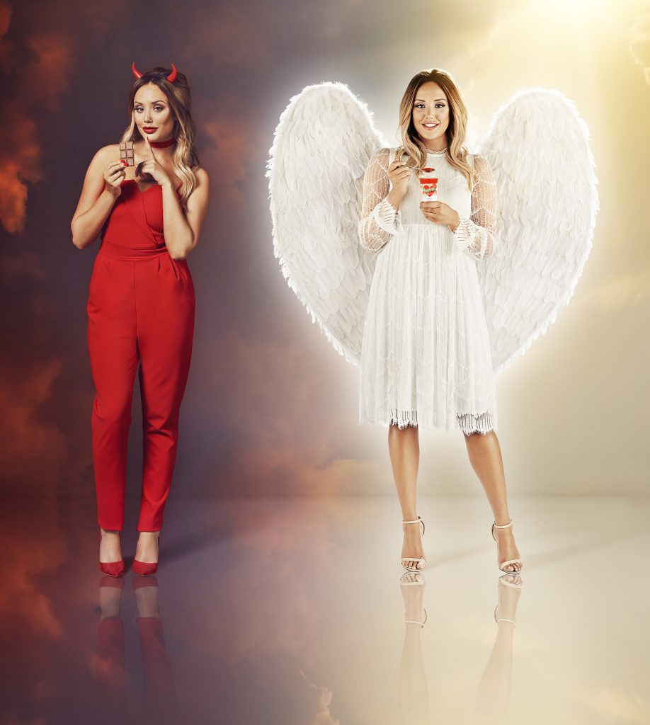 Charlotte Crosby dresses as an Angel and Devil as research by Hartley's 10 Cal Jelly Pots finds that women have more willpower than men, with 3m men giving up New Year diets on 5th January, compared to women who are most likely to wobble on the 14th January. Hartley's 10 Cal Jelly Pots contain just 10 calories each and are a great way to satisfy a sweet craving.