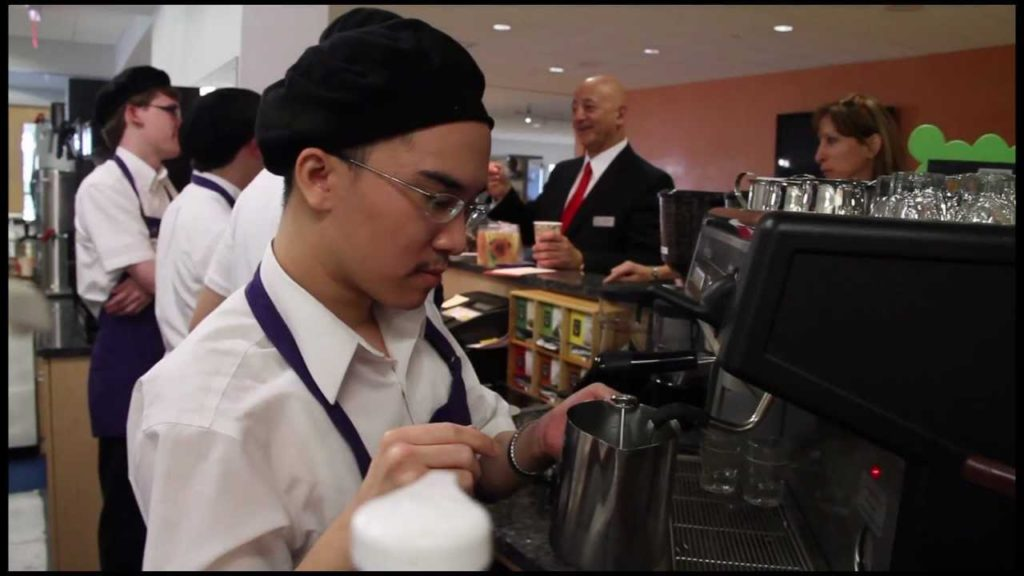 A cafe where all the workers have autism