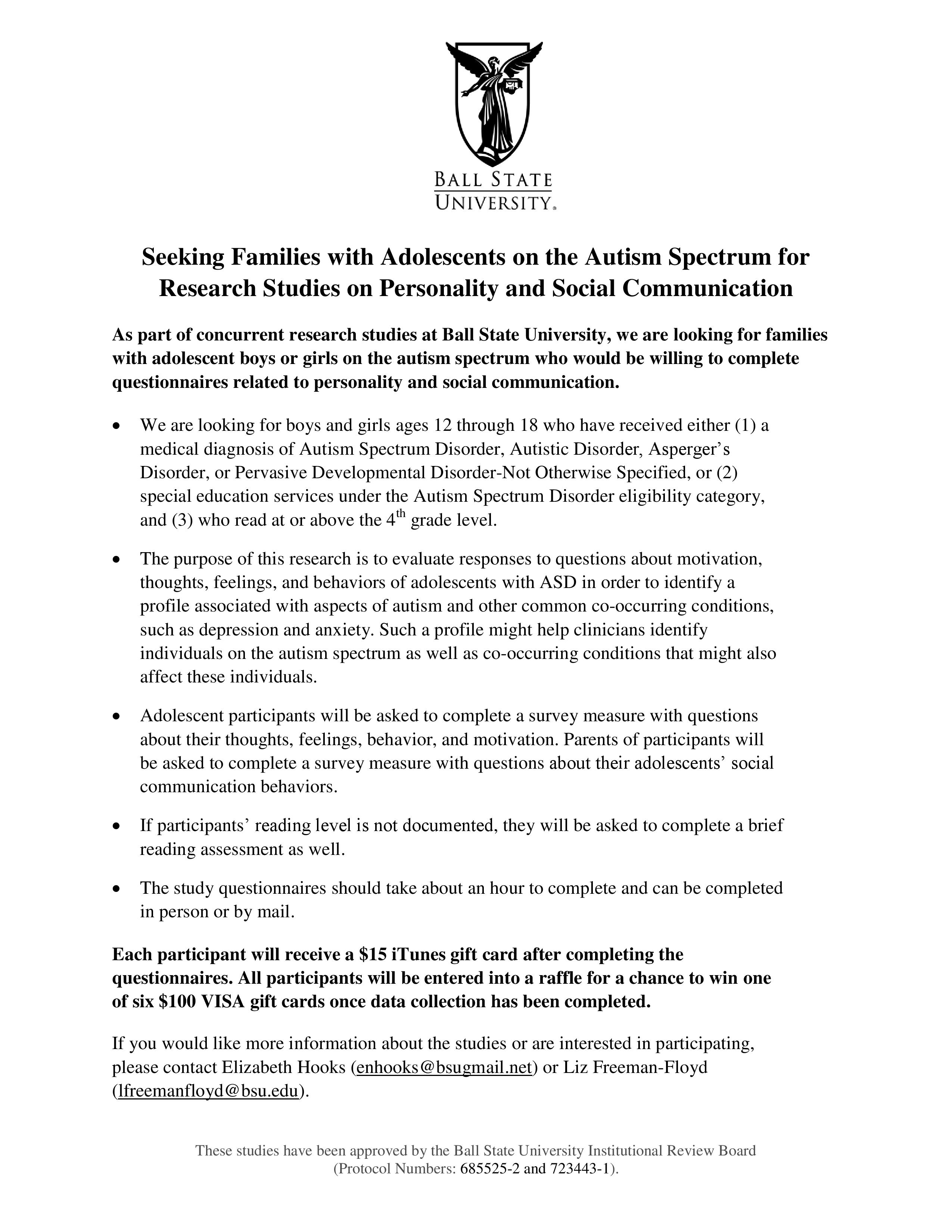 Parents of Children on the Autism Spectrum – please help with a new